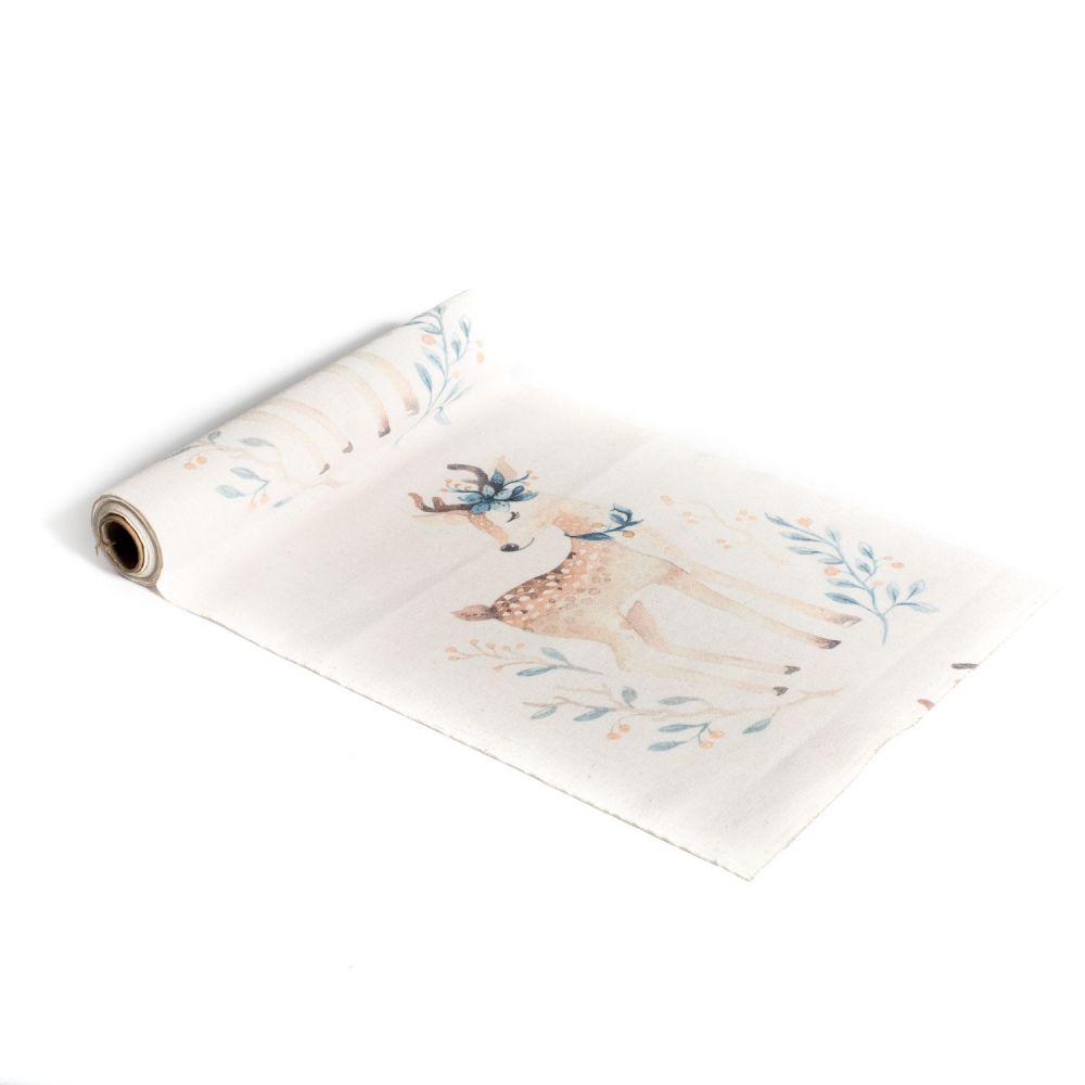 """5 m chemin de table lin """"biche"""" - 28 cm"""