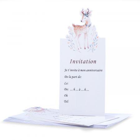 """8 cartes d'invitation """"biche"""" + 8 enveloppes"""