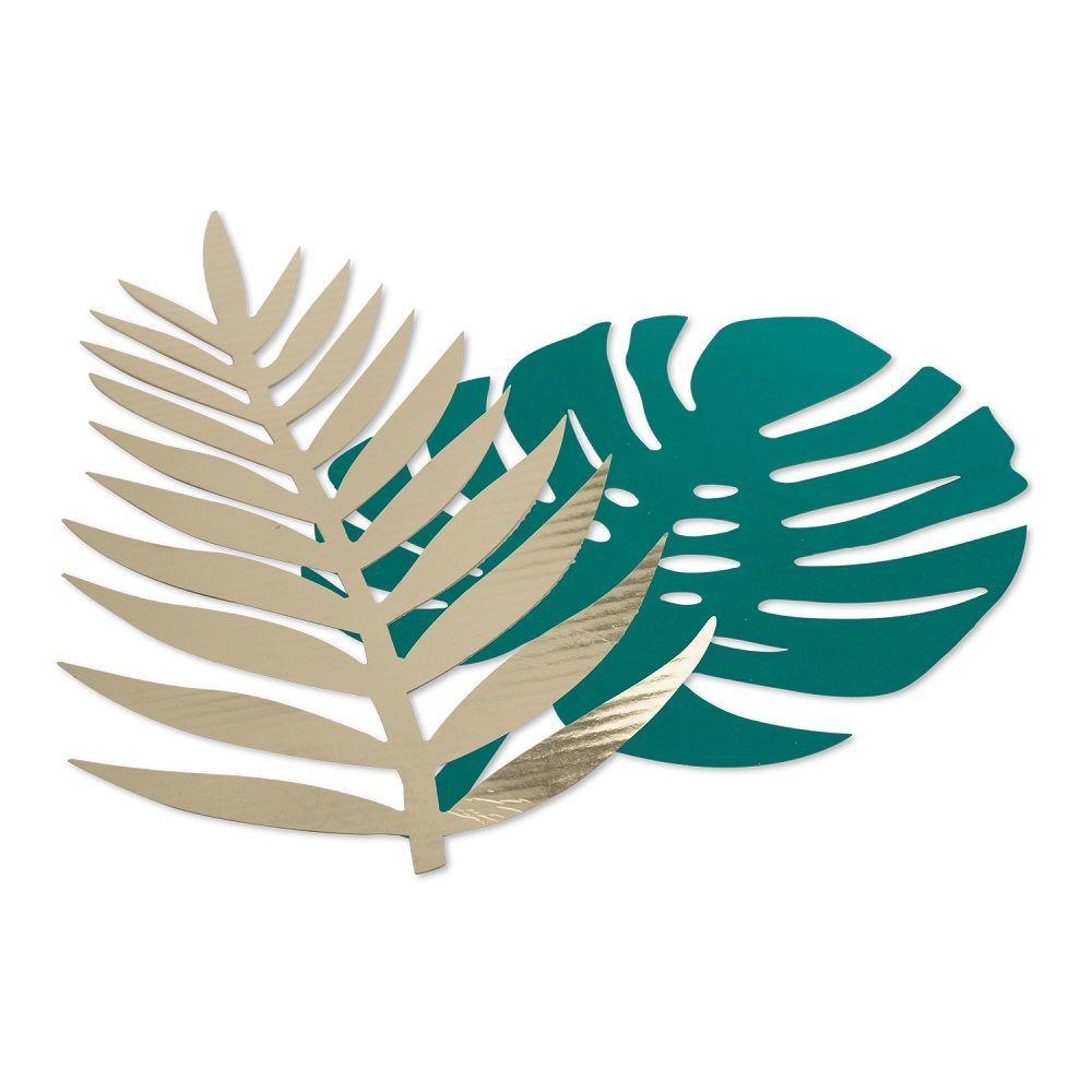 6 feuilles tropicales vertes et dorées