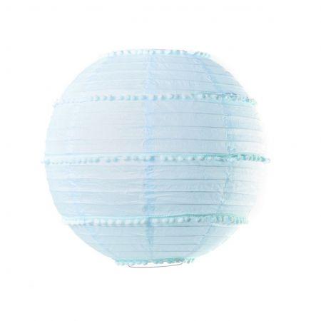 Lampion bleu ciel avec pompons - 35 cm