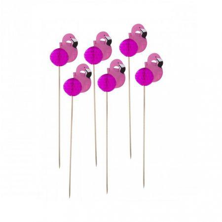 """12 pics à gâteaux 3D """"flamants roses"""""""