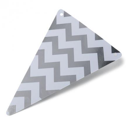 5 fanions gris chevrons en papier