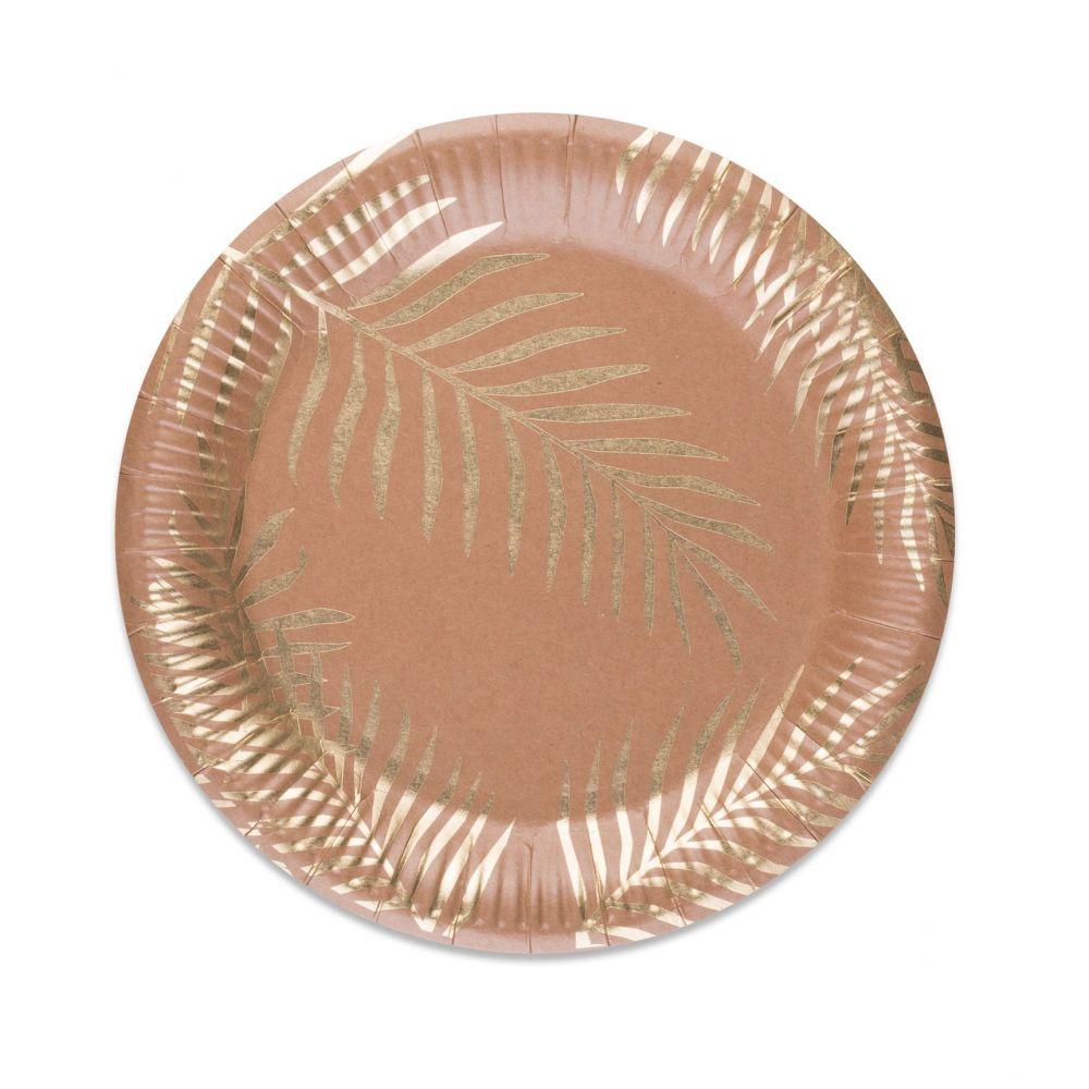 8 assiettes kraft feuilles dorées - 23 cm