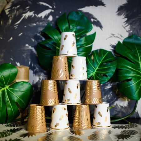 8 gobelets kraft feuilles dorés