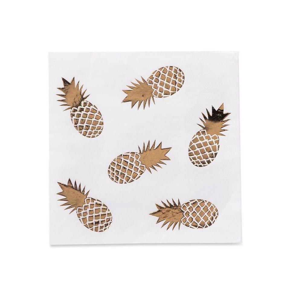 16 serviettes blanches ananas dorés