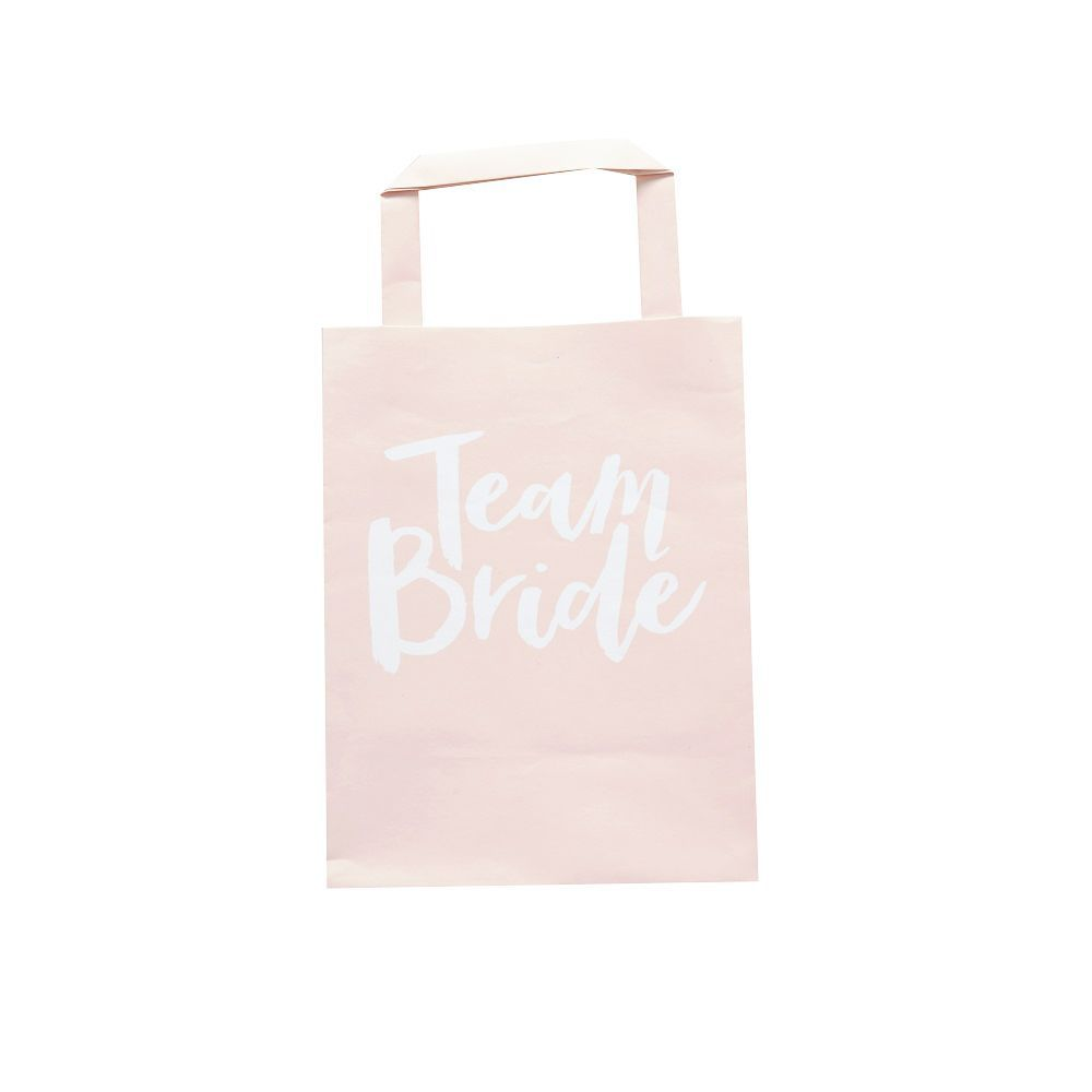"5 sacs en papier rose EVJF ""Team bride"""