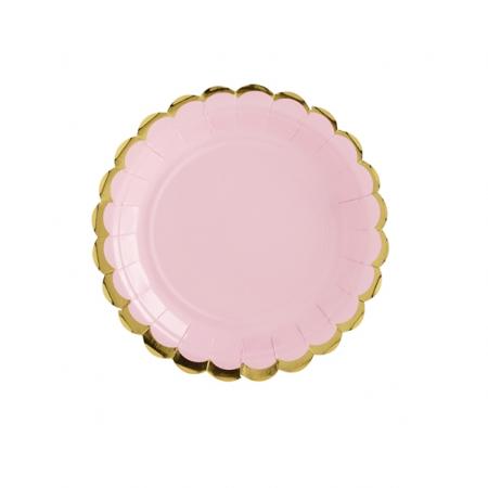 6 assiettes roses et festons dorés - 18 cm