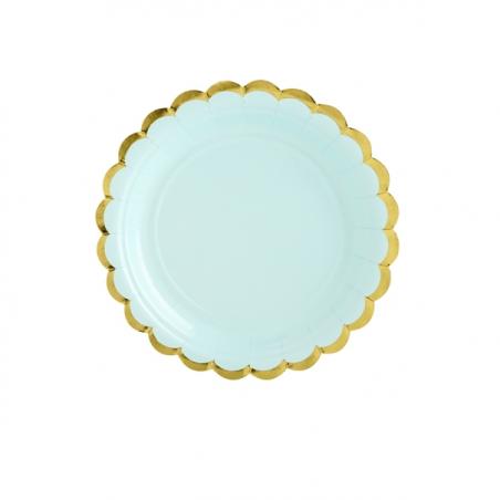 6 assiettes menthe et festons dorés - 18 cm