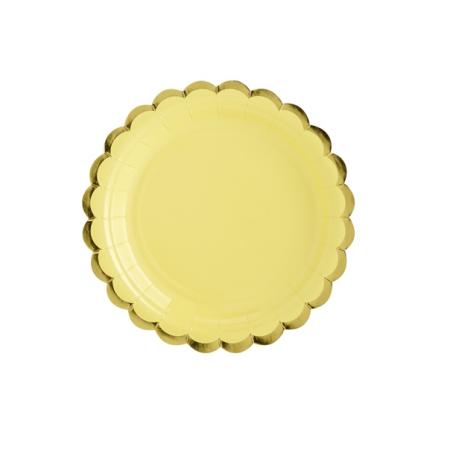 6 assiettes jaunes et festons dorés - 18 cm