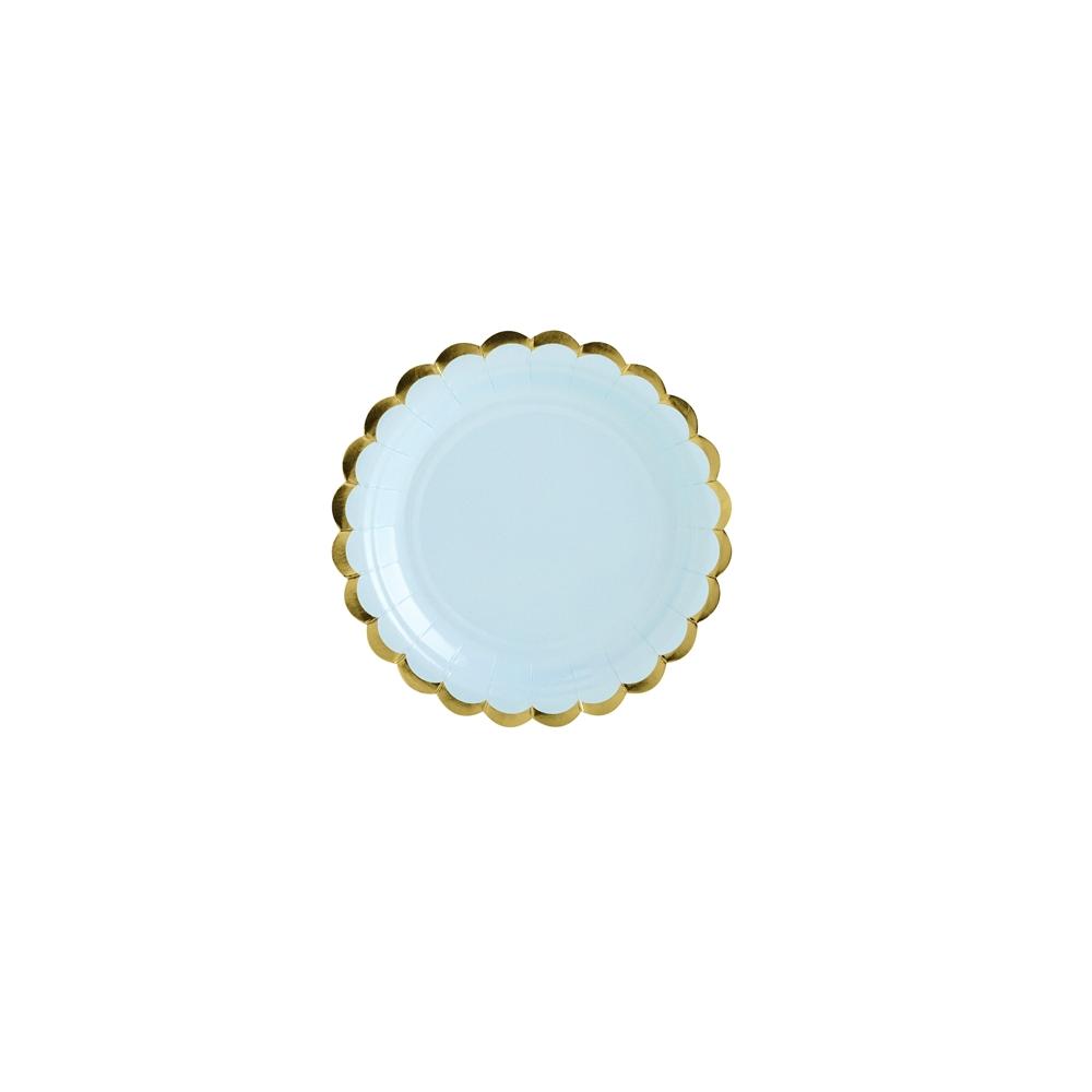 6 assiettes bleu ciel et festons dorés - 18 cm