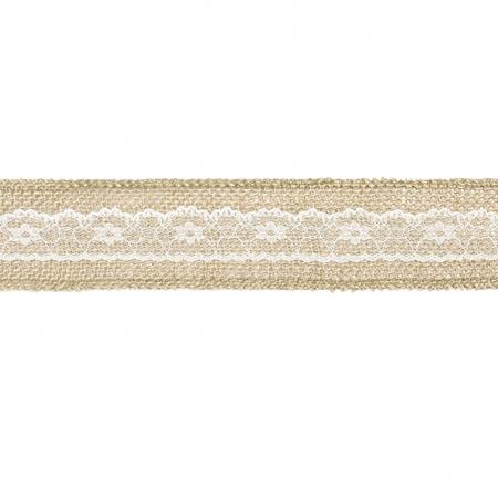 5 m ruban toile de jute et dentelle