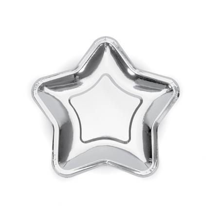 """6 assiettes """"étoile argent"""" - 18 cm"""