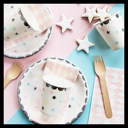 6 assiettes étoiles pastel - 18 cm