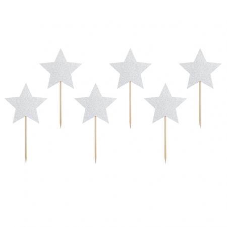 6 pics étoiles paillettes argentées