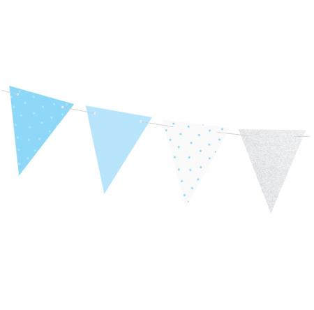 Guirlande de fanions en papier bleu et argent - 1,3 m