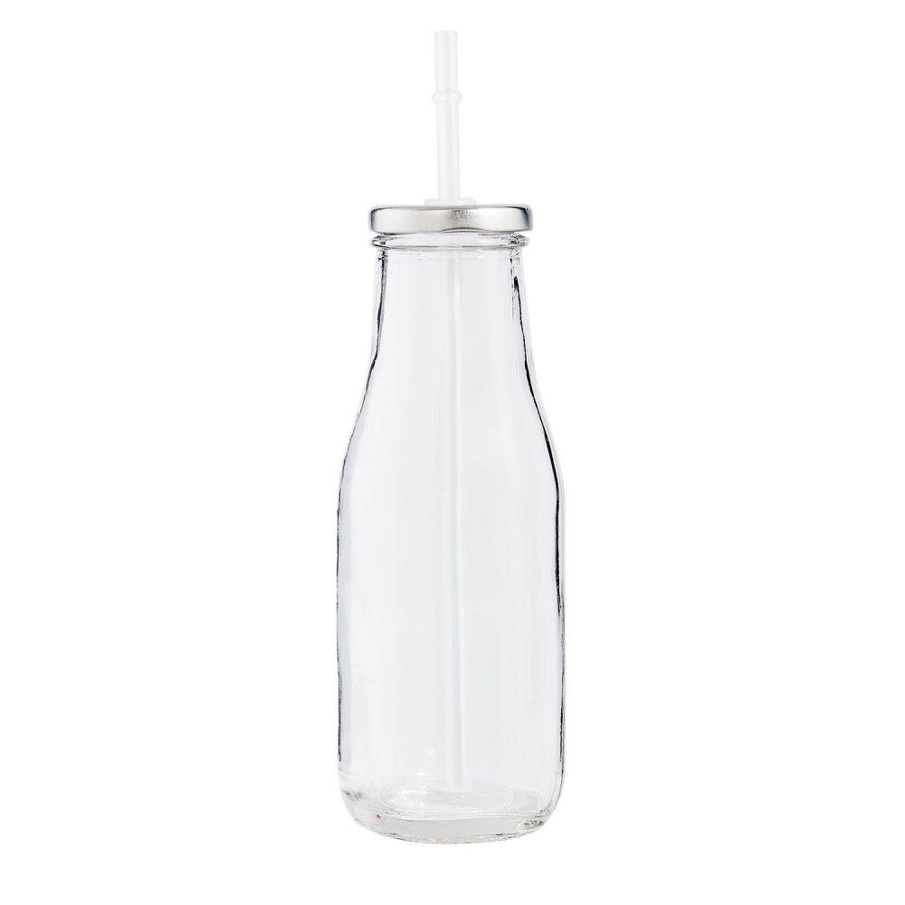 Bouteille de lait en verre + paille - 19 cm