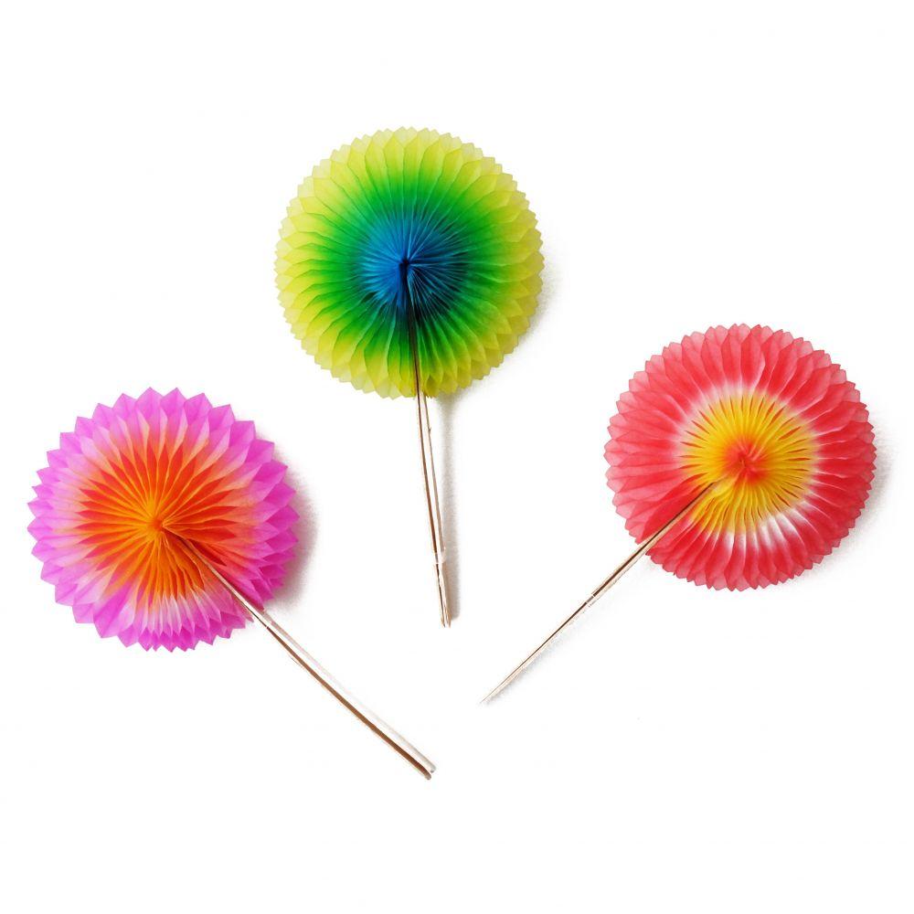 12 mini rosettes colorées en papier