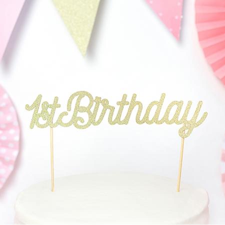 """Cake topper """"1st birthday"""" paillettes dorées"""