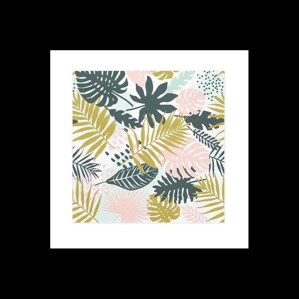 """20 serviettes """"feuilles tropicales"""""""