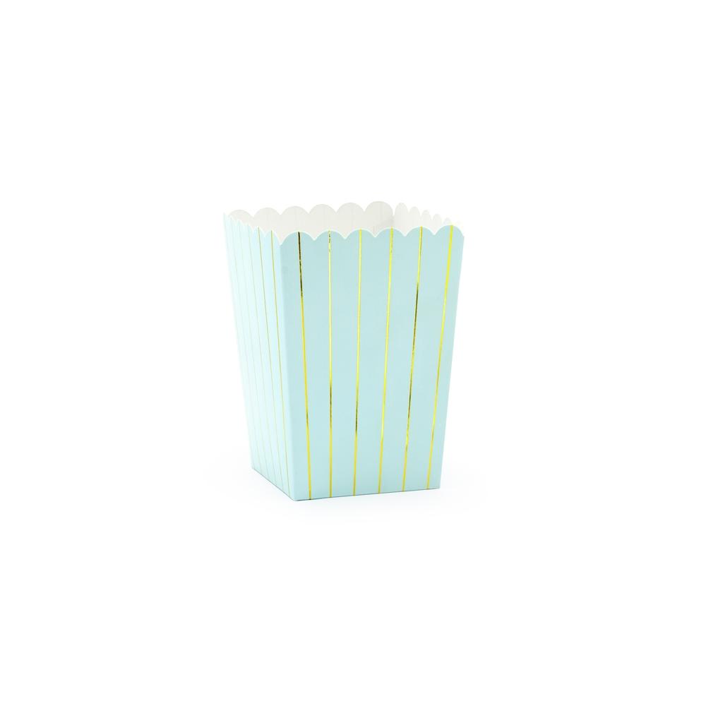 6 pots à popcorn bleu ciel et doré