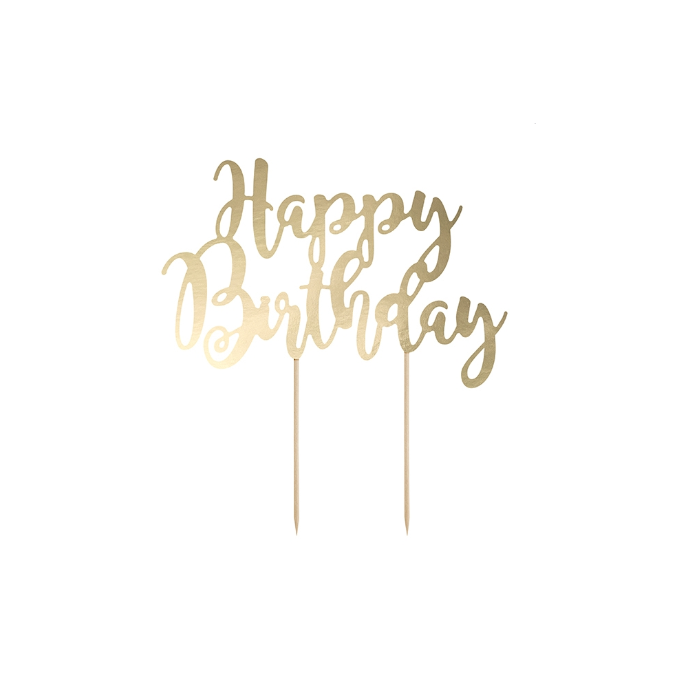 """Cake topper papier doré """"happy birthday"""""""