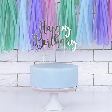 "Cake topper papier argenté ""happy birthday"""