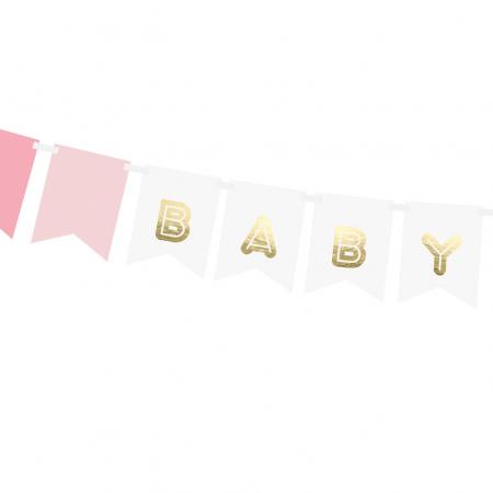 """Guirlande de fanions """"Baby girl"""" - 1,8 m"""