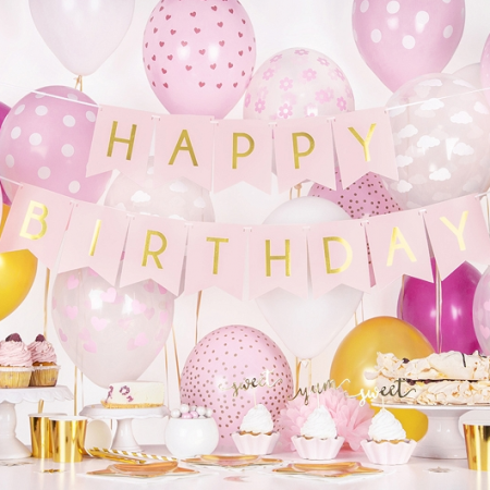 "Guirlande de fanions rose ""Happy birthday"" - 1,8 m"