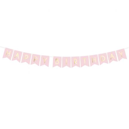 """Guirlande de fanions rose """"Happy birthday"""" - 1,8 m"""