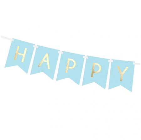"""Guirlande de fanions bleu pastel """"Happy birthday"""" - 1,8 m"""