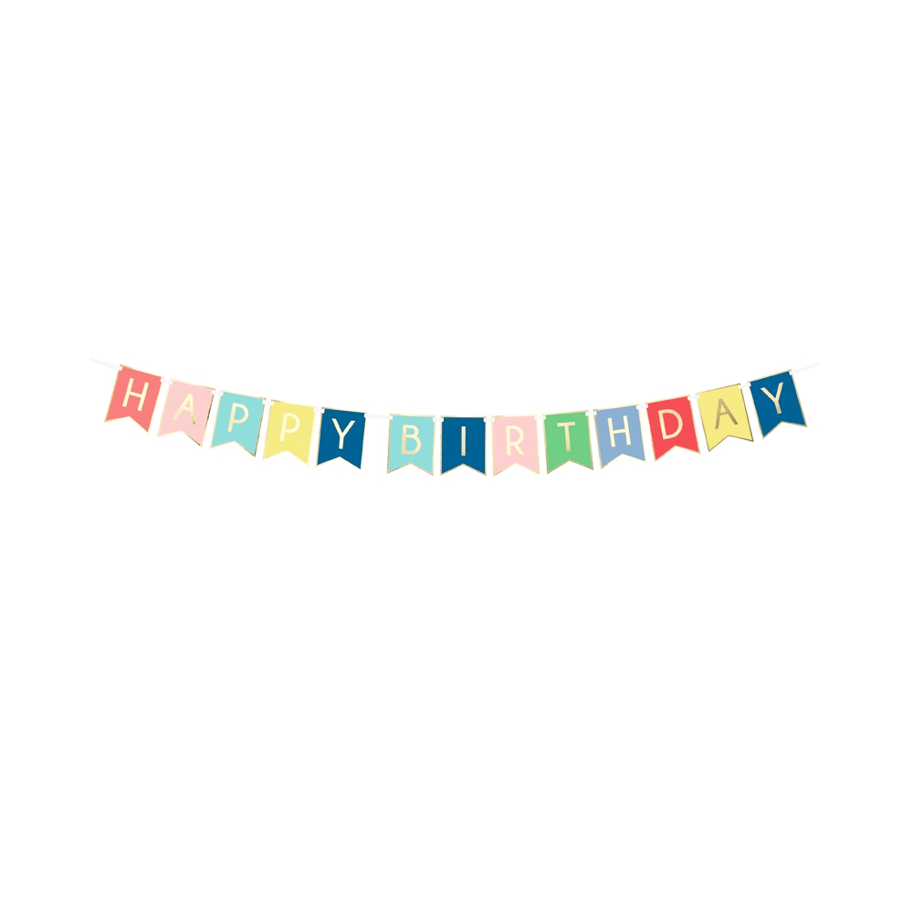 "Guirlande de fanions colorés ""Happy birthday"" - 1,8 m"