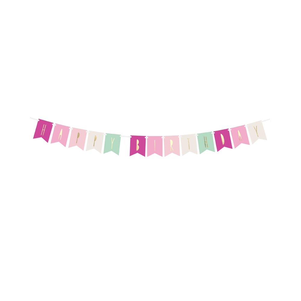 "Guirlande de fanions ""Happy birthday"" sorbet - 1,4 m"