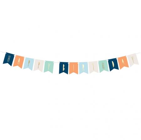 """Guirlande de fanions """"Happy birthday"""" aventure - 1,4 m"""