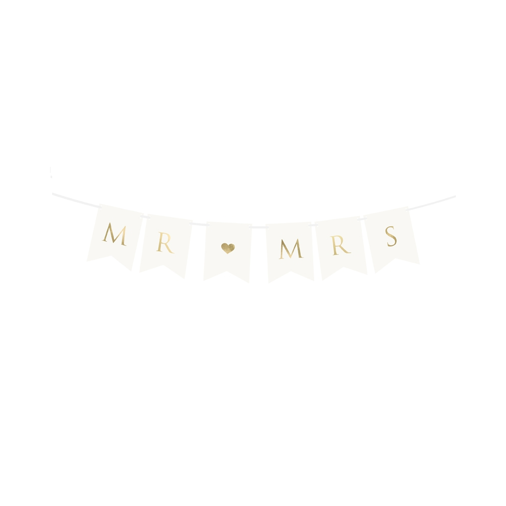 "Guirlande de fanions blancs ""Mr & Mrs"" - 0,9 m"