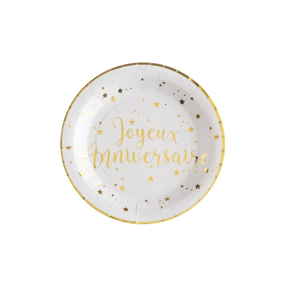 """10 assiettes """"joyeux anniversaire"""" - 22,50 cm"""
