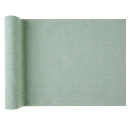 3 m chemin de table coton menthe  - 28 cm