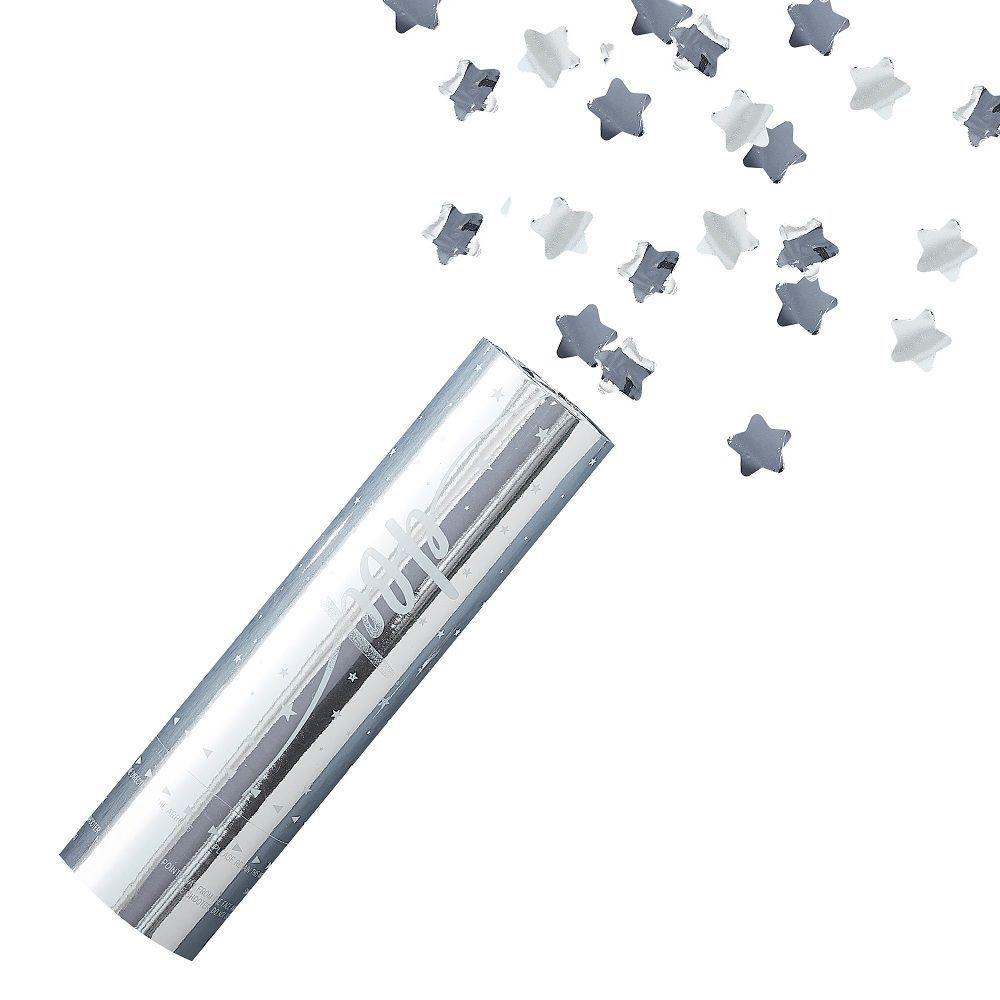 Canon à confettis étoiles argentées