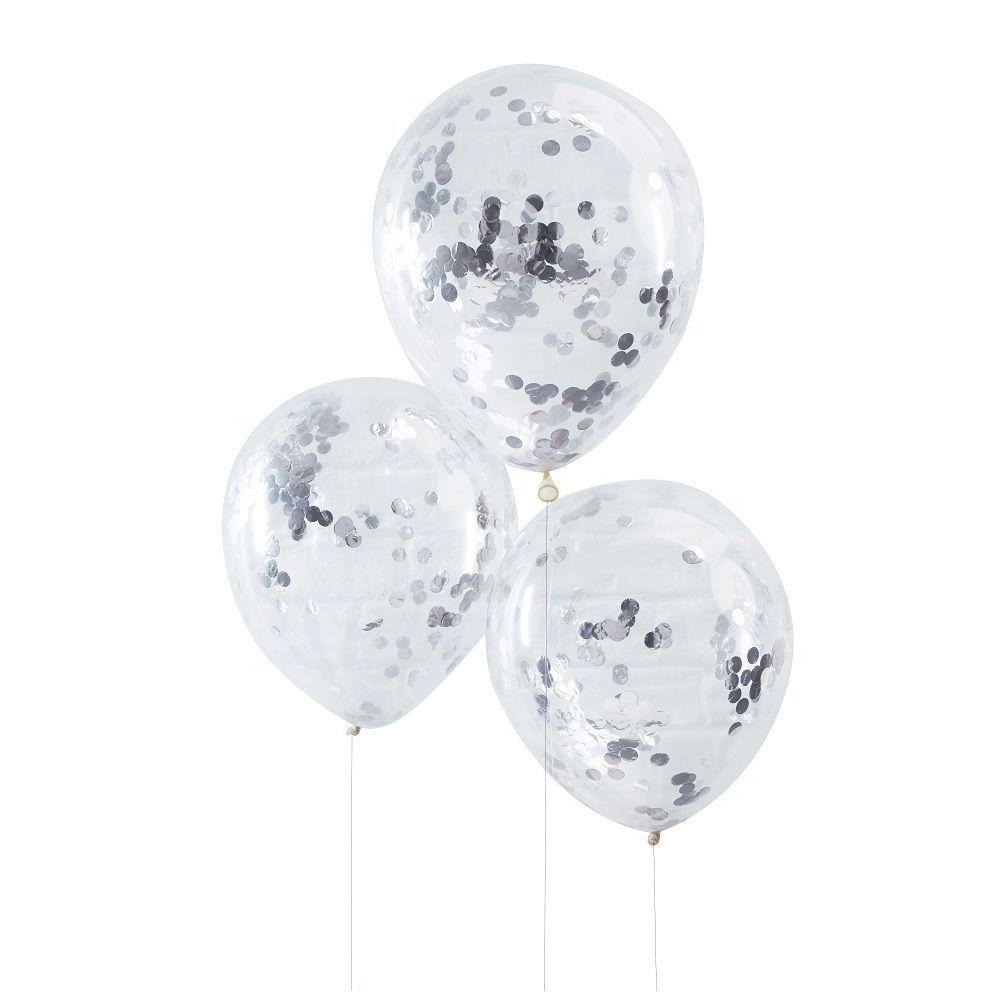 5 ballons transparents confettis argentés