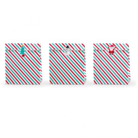 """3 grandes pochettes cadeaux rayées """"Noël"""""""
