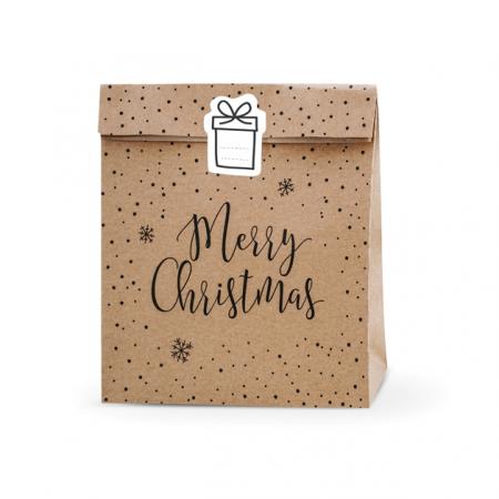 "3 grandes pochettes cadeaux kraft ""Noël"""