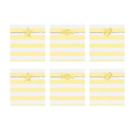 6 sachets en papier rayures jaunes