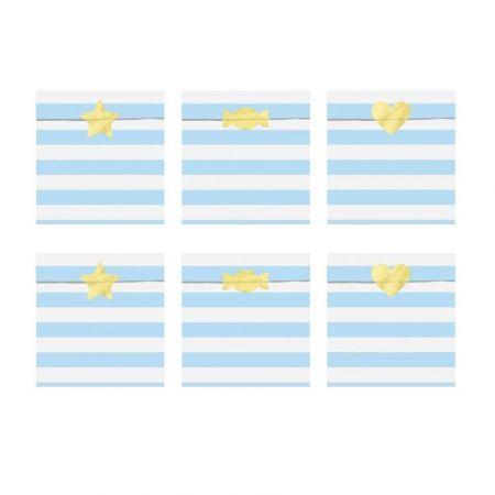 6 sachets en papier rayures bleu ciel