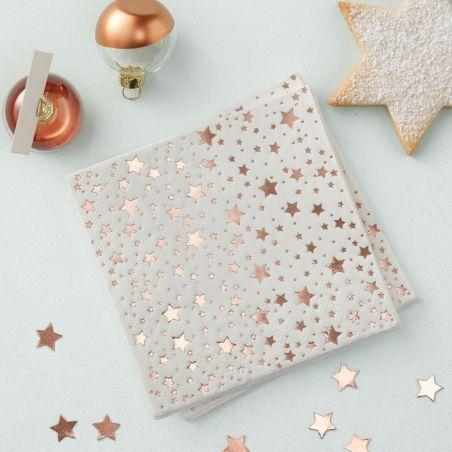 16 serviettes blanches étoiles rose gold