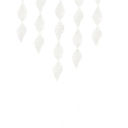 3 m guirlande crépon blanc à franges