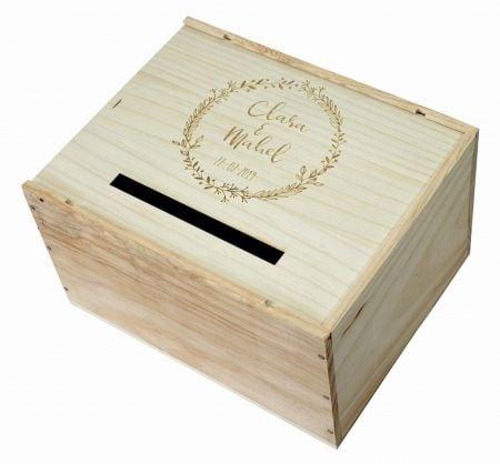 """Urne en bois personnalisable """"Prénoms + couronne"""""""