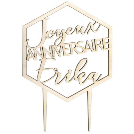 """Cake topper en bois personnalisable """"anniversaire hexagone"""""""