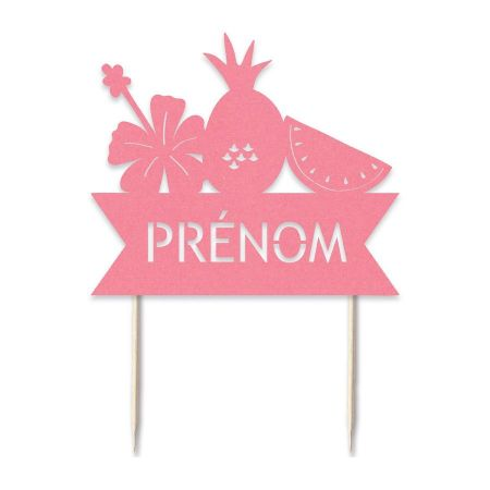 "Cake topper en papier personnalisable ""tropical"""