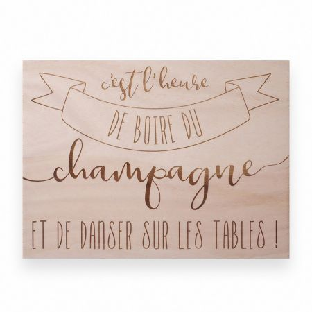"Panneau en bois ""champagne""..."