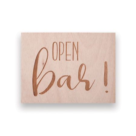 """Panneau en bois """"Open bar""""..."""