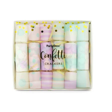 6 crakers confettis pastel